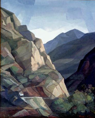 Βασίλης Σίμος , 1989 , Βράχια, λάδι σε μουσαμά, 70x50