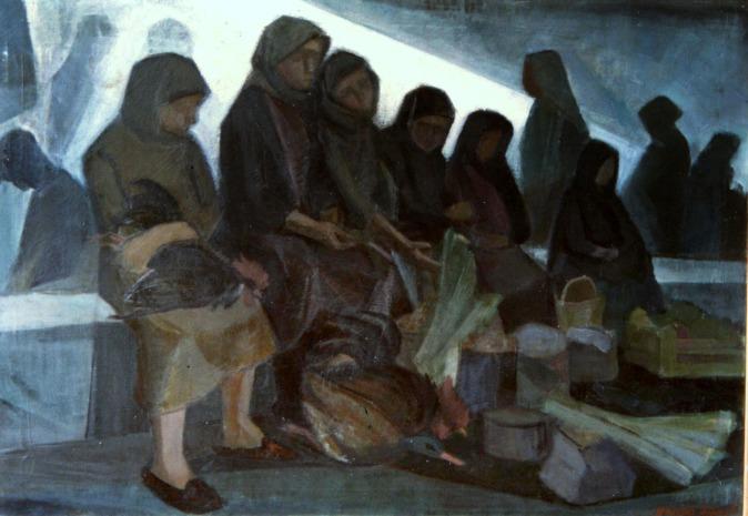 Βασίλης Σίμος , 1979, Λαϊκή αγορά , λάδι σε μουσαμά, 90x130