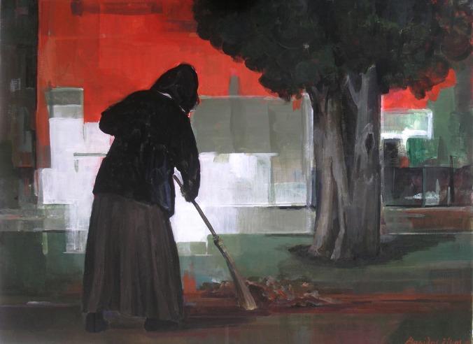 Βασίλης Σίμος , 2005, Διακόνημα, ακρυλικό σε μουσαμά 75x100