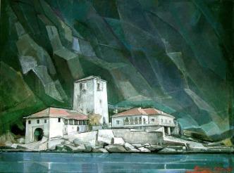 Βασίλης Σίμος , Αγιον Όρος. Αρσανάς, 1998, λάδι σε μουσαμά 50x70