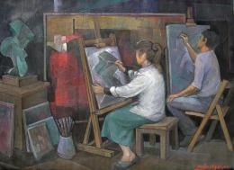 Βασίλης Σίμος , 2005 , Εργαστήρι , ακρυλικό σε μουσαμά , 90x130