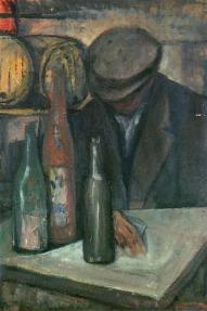 Βασίλης Σίμος , Το κρασί και το σταφύλι ,1963 , λάδι και εγκαυστική σε ξύλο, 70x50