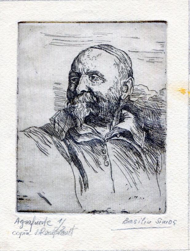 Βασίλης Σίμος ,, Μάθημα Χαρακτικής. Αντίγραφο χαλκογραφίας του Ρέμπραντ, 1958 , Aguafuerte 20x15 , χαλκογραφία τυπωμένη σε χαρτί
