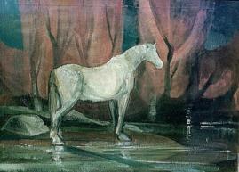 Βασίλης Σίμος , 1973 , Άσπρο άλογο , λάδι σε μουσαμά , 70x100