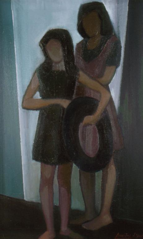 Βασίλης Σίμος ,1979 , κορίτσια με ρόδα, λάδι σε μουσαμά , 70x50