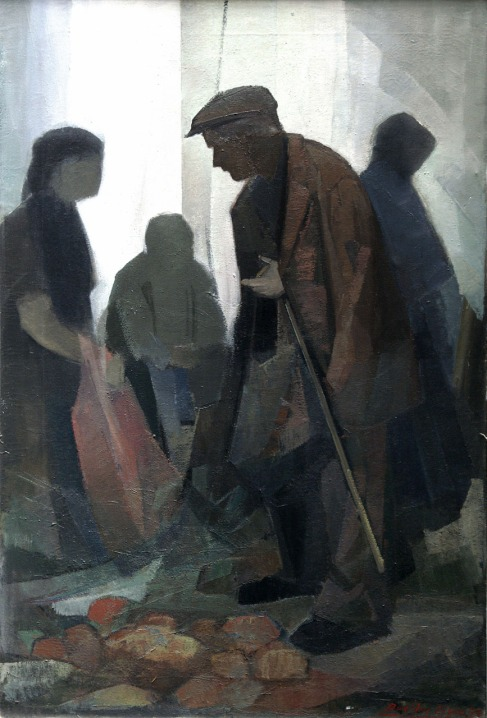 Βασίλης Σίμος , 1979, Γέρος στη Λαϊκή αγορά, λάδι σε μουσαμά , 70x50