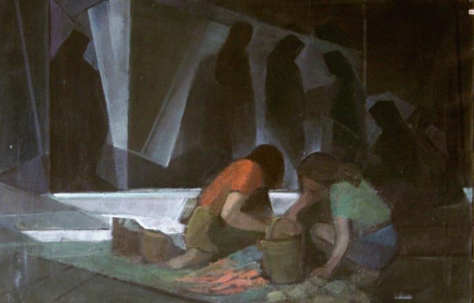 Βασίλης Σίμος , 1979 , Κορίτσια στη Λαϊκή, λάδι σε μουσαμά 50x70