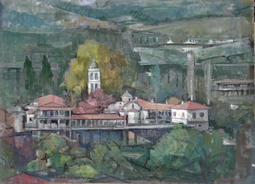 Βασίλης Σίμος , 1980 , Μονή Αγάθωνος , Υπάτης , λάδι σε μουσαμά 70x100