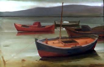 Βασίλης Σίμος , 1979 ,Βάρκες , λάδι σε μουσαμά , 50x70