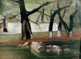 Βασίλης Σίμος , 1970 ,δέντρα στο ποτάμι , λάδι και εγκαυστική σε μουσαμά