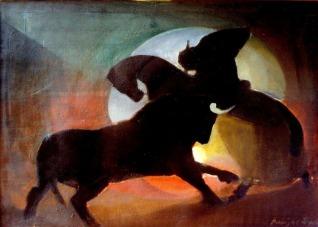 Βασίλης Σίμος ,1973 ,Τυρομαχία , λάδι σε μουσαμά 50x70