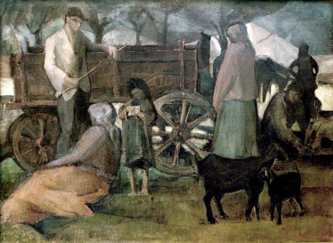 Βασίλης Σίμος , 1965 , Τσιγκάνοι , λάδι σε μουσαμά , 70x100