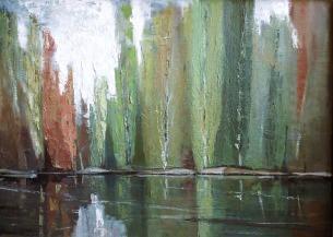 Βασίλης Σίμος , 1975 , Λεύκες στο ποτάμι , λάδι σε μουσαμά ,50x70