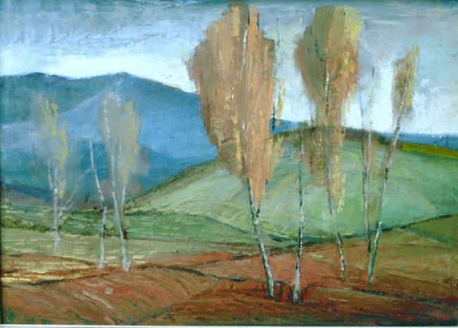 Βασίλης Σίμος , 1975 ,Λεύκες , λάδι σε μουσαμά , 50x70