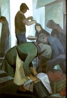 Βασίλης Σίμος , 1979 , λαϊκή αγορά , λάδι σε μουσαμά , 100x70