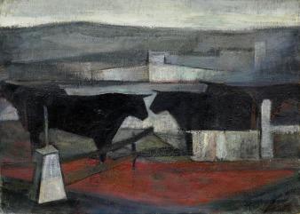 Βασίλης Σίμος , 1966, Ταύροι , λάδι σε μουσαμά , 70100