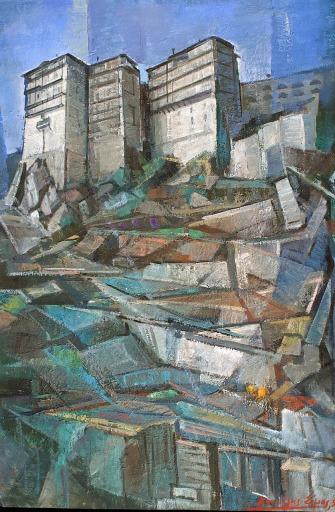 Βασίλης Σίμος , 2000 , Άγιον Όρος Σιμωνόπετρα , λάδι σε μουσαμά ,90x65