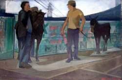 Βασίλης Σίμος Αμφιβολία 1983 Λάδι σε μουσαμα 50x70
